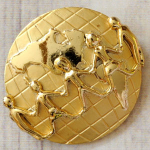 vintage planet earth global gold brooch pin euc